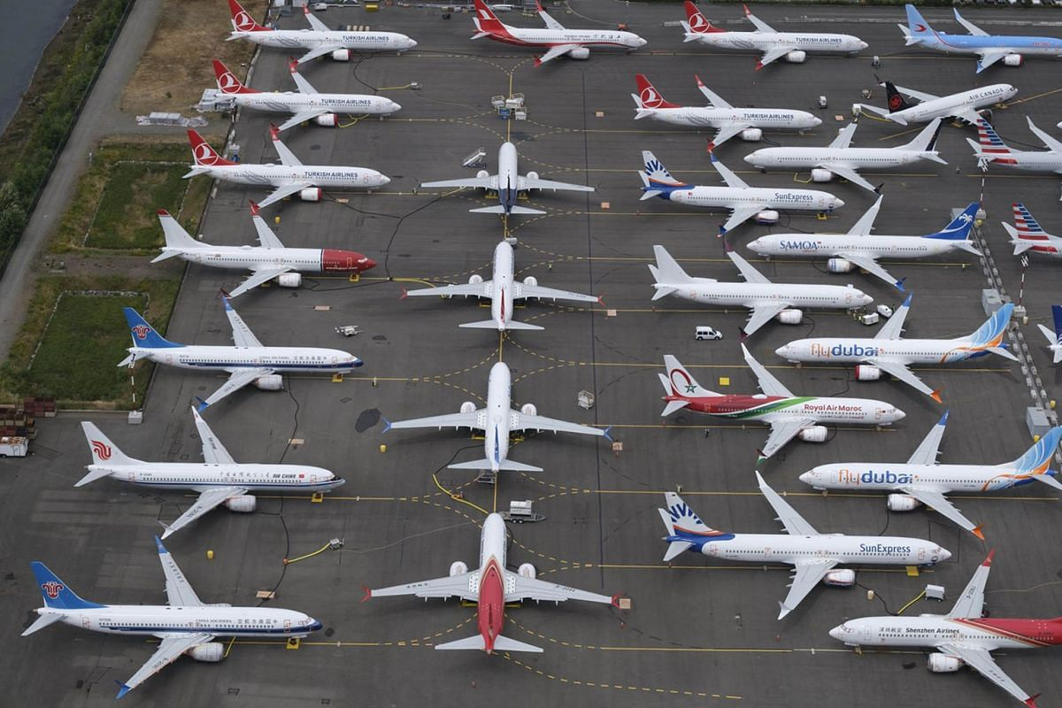 Boeing 737 MAX airplanes are stored in an area adjacent to Boeing Field, on June 27, 2019 in Seattle, Washington. After a pair of crashes, the 737 MAX has been grounded by the FAA and other aviation agencies since March, 13, 2019. PHOTO: GETTY IMAGES