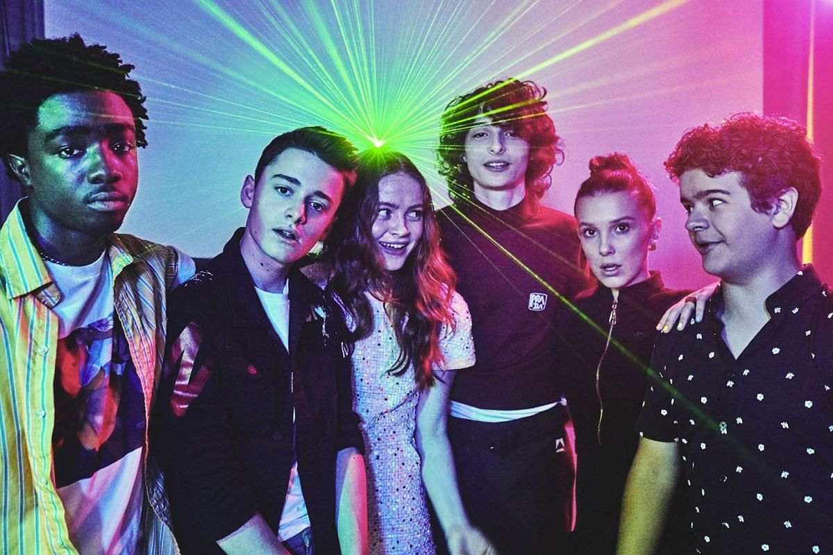 """A photo issued on June 28, 2019 shows the cast of """"Stranger Things,"""" from left, Caleb McLauhglin, Noah Schnapp, Sadie Sink, Finn Wolfhard, Millie Bobby Brown, and Gaten Matarazzo at the Whitby Hotel in New York, June 12, 2019. PHOTO: THE NEW YORK TIM"""