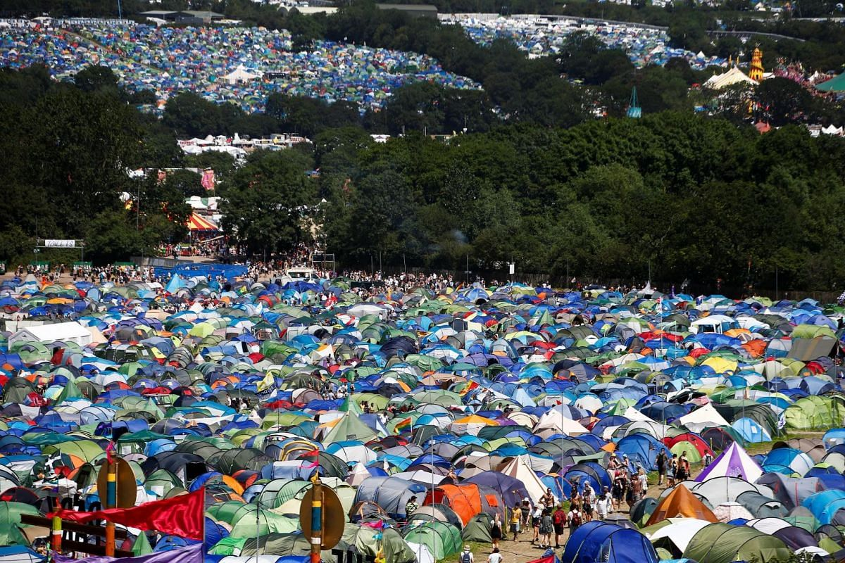 A view of the Glastonbury Festival campsite at the Worthy farm in Britain on June 27, 2019.
