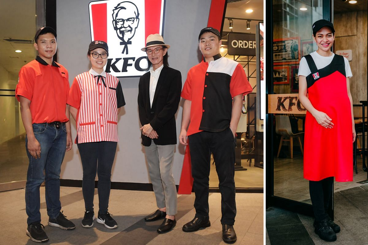 KFC's new uniforms for staff, designed by couturier Thomas Wee (above in straw hat), comprise (from left) bomber jackets with zippers for restaurant managers; red-and-white striped shirts for customer-facing employees; colour-blocked jerseys for the