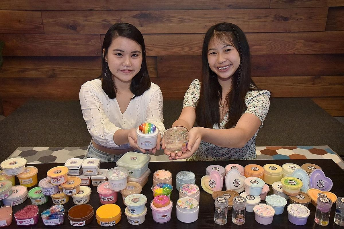 Students Ang Jia Xin (left) and Hannah Tan (right) are among the top-earning makers of slime here.