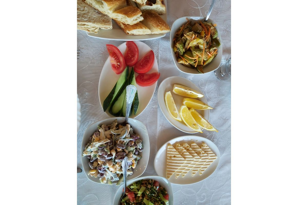 Meals in Armenia are well-balanced affairs, starting with lavish bread and cheese and salads of carrots, eggplants, zucchinis, followed by a main course, which can be a beef and potato stew or grilled pork.