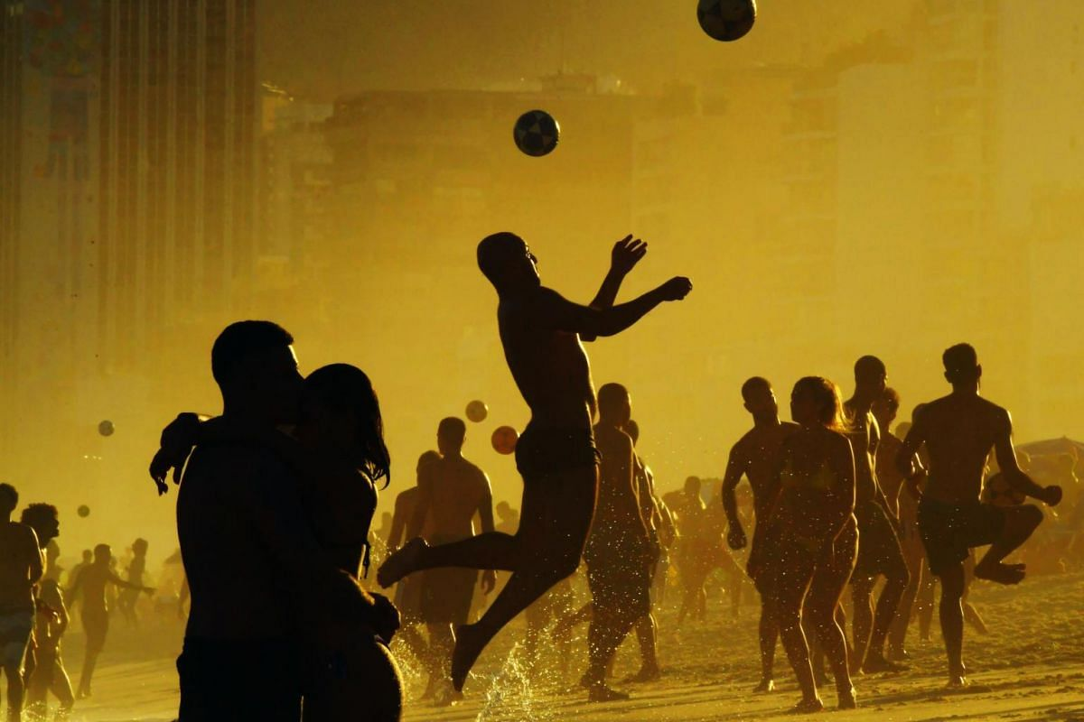 People playing with balls at Ipanema Beach in Rio de Janeiro, Brazil, on June 30, 2019.