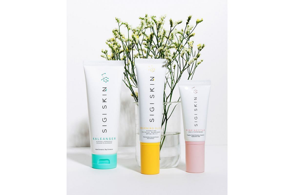 Three products: (above from left) Kaleanser Face Cleanser ($38), Morning Glow Sunscreen ($58) and Pink Nectar ($62), an eye serum.