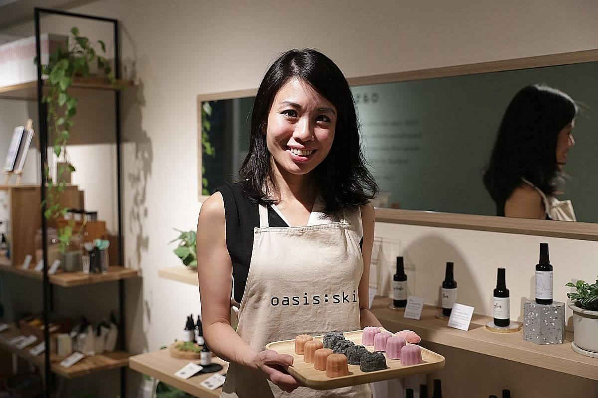 (Clockwise from above) Oasis:skin founder Hildra Gwee, Liht Organics founder Nerissa Low and Rooki Beauty founder Hayley Teo are behind local skincare brands that use natural, plant-based or organic ingredients.