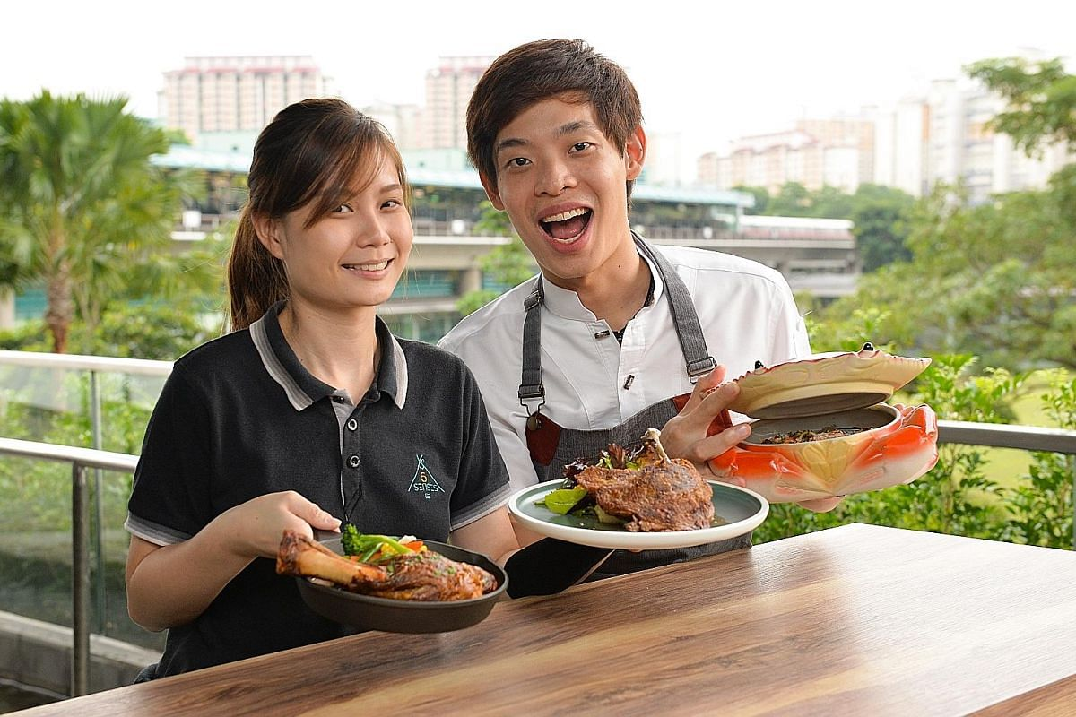 Learning to make French cuisine and how to run a restaurant business sparked the entrepreneurship spirit of 5 Senses Bistro's Alina Har and Andrea Lim (both above).