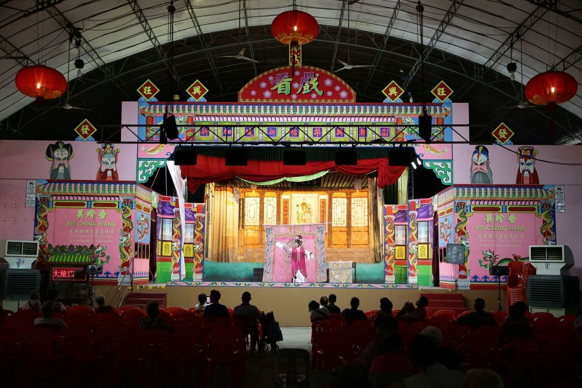Ms Christine Ang reprising a role during Sin Ee Lye Heng's performance for Lord Cheng Huang's birthday celebration at Lorong Koo Chye Sheng Hong Temple, on June 27, 2019.