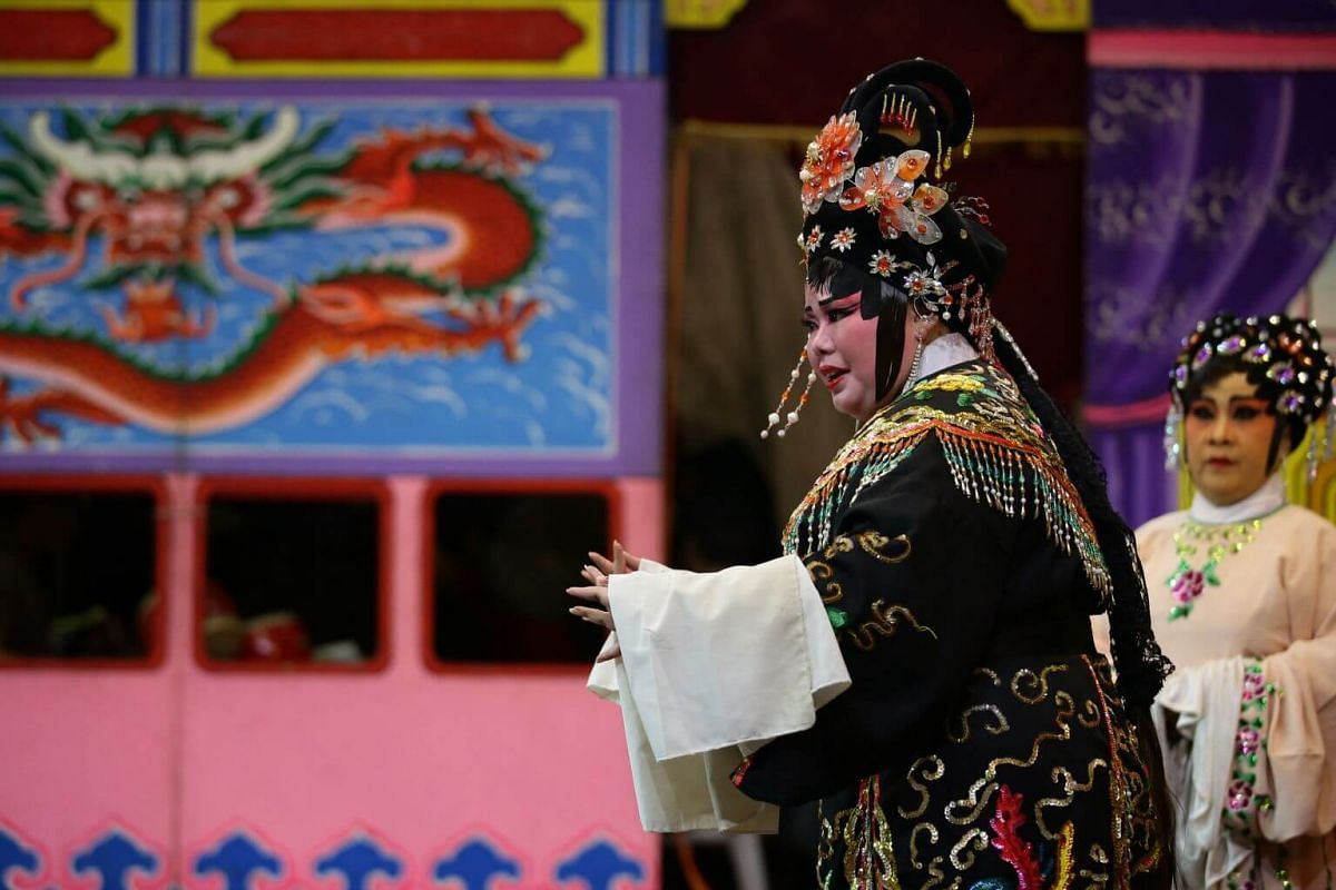 Ms Christine Ang injecting emotion and poise beyond her years when reprising a role in Sin Ee Lye Heng's performance for Lord Cheng Huang's birthday celebration at Lorong Koo Chye Sheng Hong Temple, on June 27, 2019.