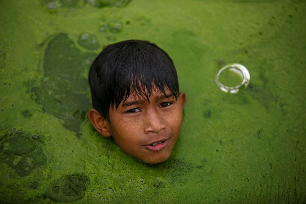 A boy swims on a pond covered with algae in Bhaktapur, Nepal, July 9, 2019. PHOTO: REUTERS