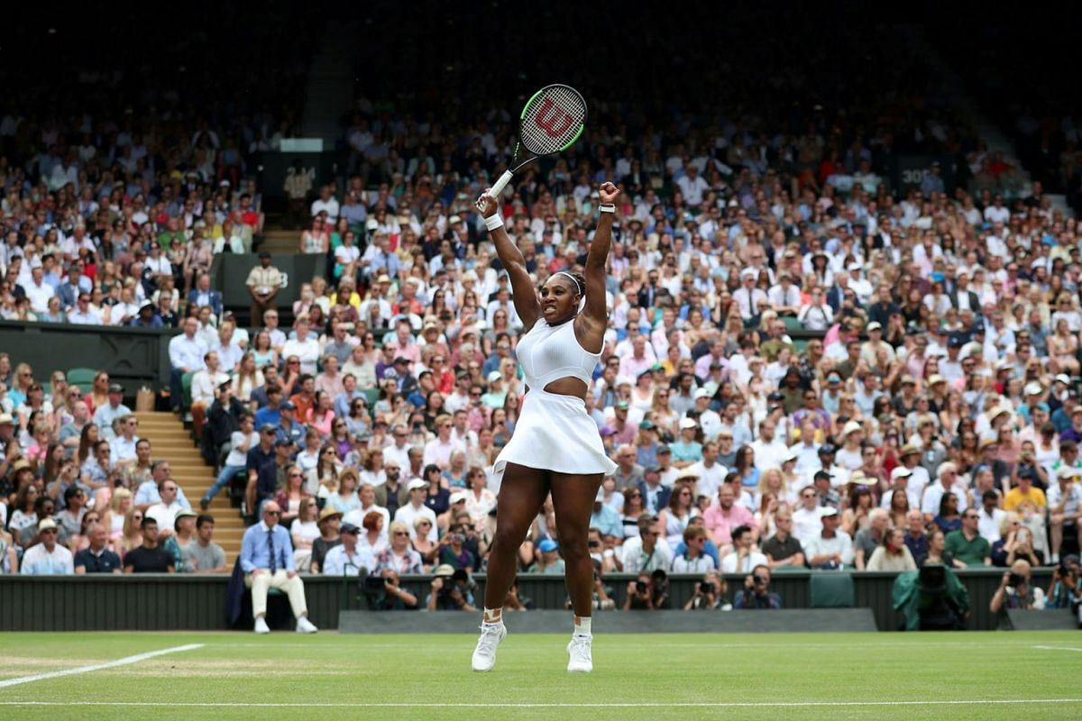 Serena Williams of the U.S. reacts during her Wimbledon quarter final tennis match against Alison Riske of the U.S. at the All England Lawn Tennis and Croquet Club in London, Britain on July 9, 2019. PHOTO: REUTERS