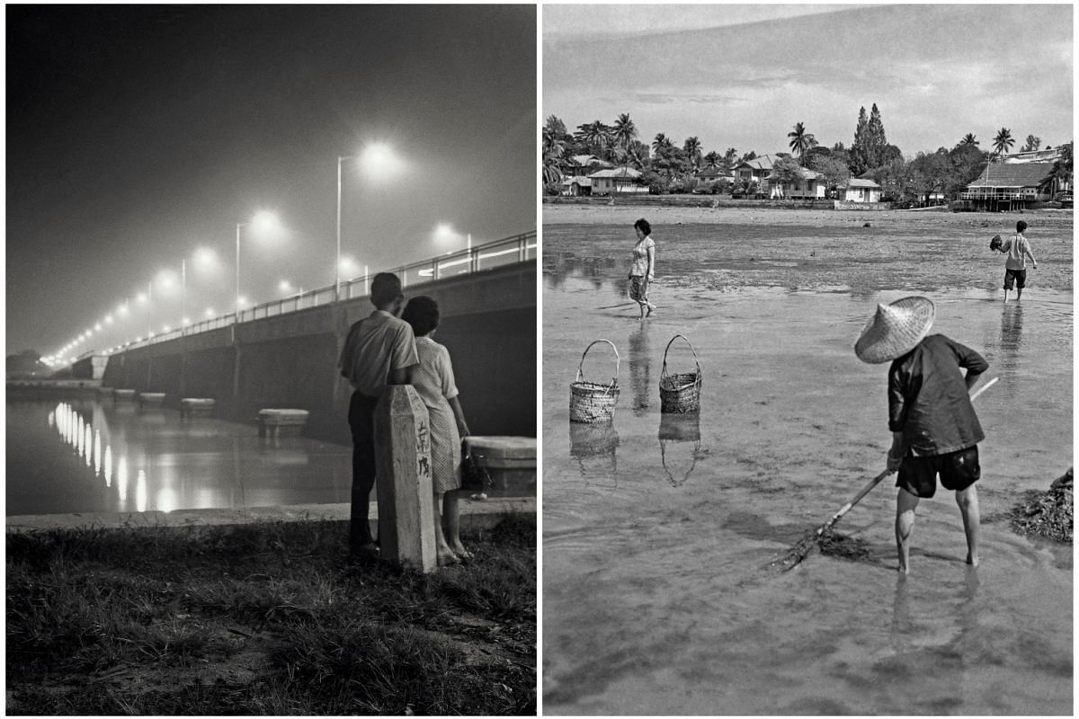 Left: Lovers at Merdeka Bridge in the 1970s. Right: Villagers collecting seaweed at Mata Ikan in the 1960s.