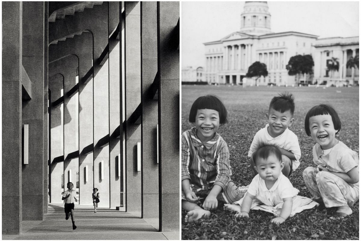 Left: Mr Lim's daughter, Mu Sing (back), racing her brother Mu Chong at the old National Stadium in the 1970s. Right: Mr Lim's children at the Padang in the late 1960s. (From left) Mu Ming, Mu Hong (in front), Mu Chong and Mu Sing