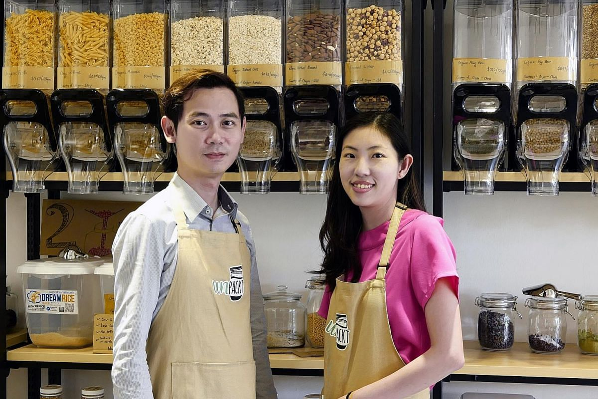 Founders Jeff Lam and Florence Tay of local social enterprise UnPackt.