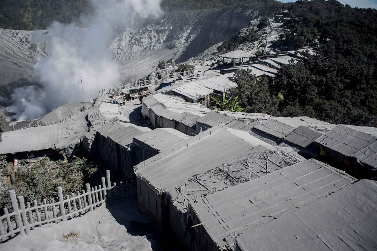 Stalls closed following a volcanic eruption at the tourist area of Mount Tangkuban Parahu, north of Bandung, West Java province, Indonesia, on July 27, 2019, in this photo taken by Antara Foto.