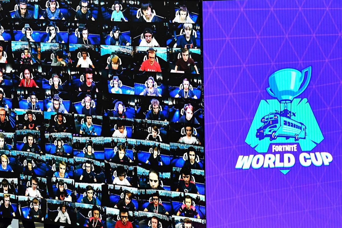 Players seen on screen during the finals of the Solo competition at the 2019 Fortnite World Cup on July 28, 2019, in Arthur Ashe Stadium in New York City.