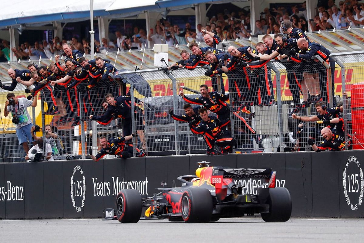Red Bull's Max Verstappen crosses the line to win the Formula One German Grand Prix race in Hockenheim on July 28, 2019.