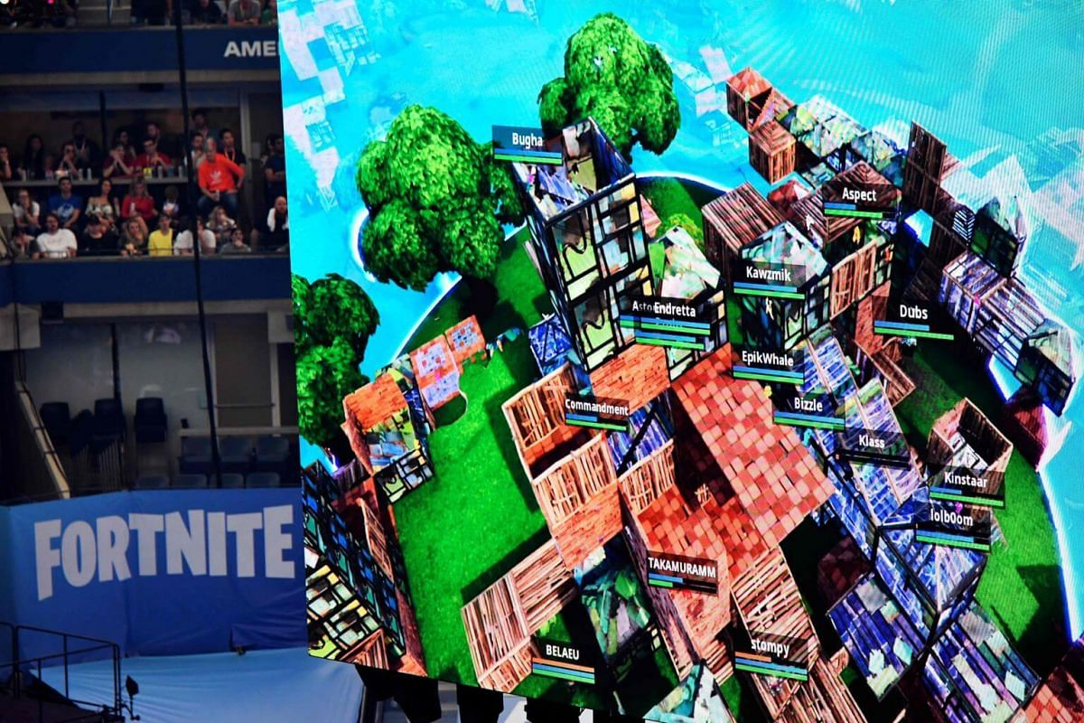 Player avatars are seen during the final of the Solo competition at the 2019 Fortnite World Cup on July 28, 2019.