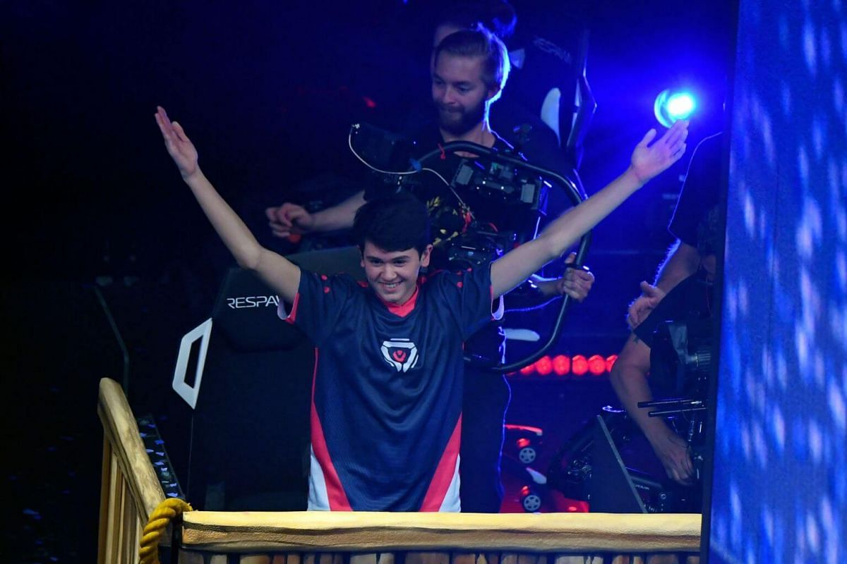 American teenager Kyle Giersdorf celebrates after winning the final of the Solo competition at the 2019 Fortnite World Cup on July 28, 2019.