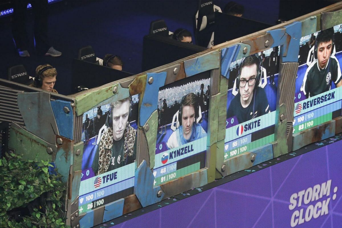 Fortnite players in action during the final of the Solo competition at the 2019 Fortnite World Cup at Flushing Meadows Arthur Ashe Stadium.