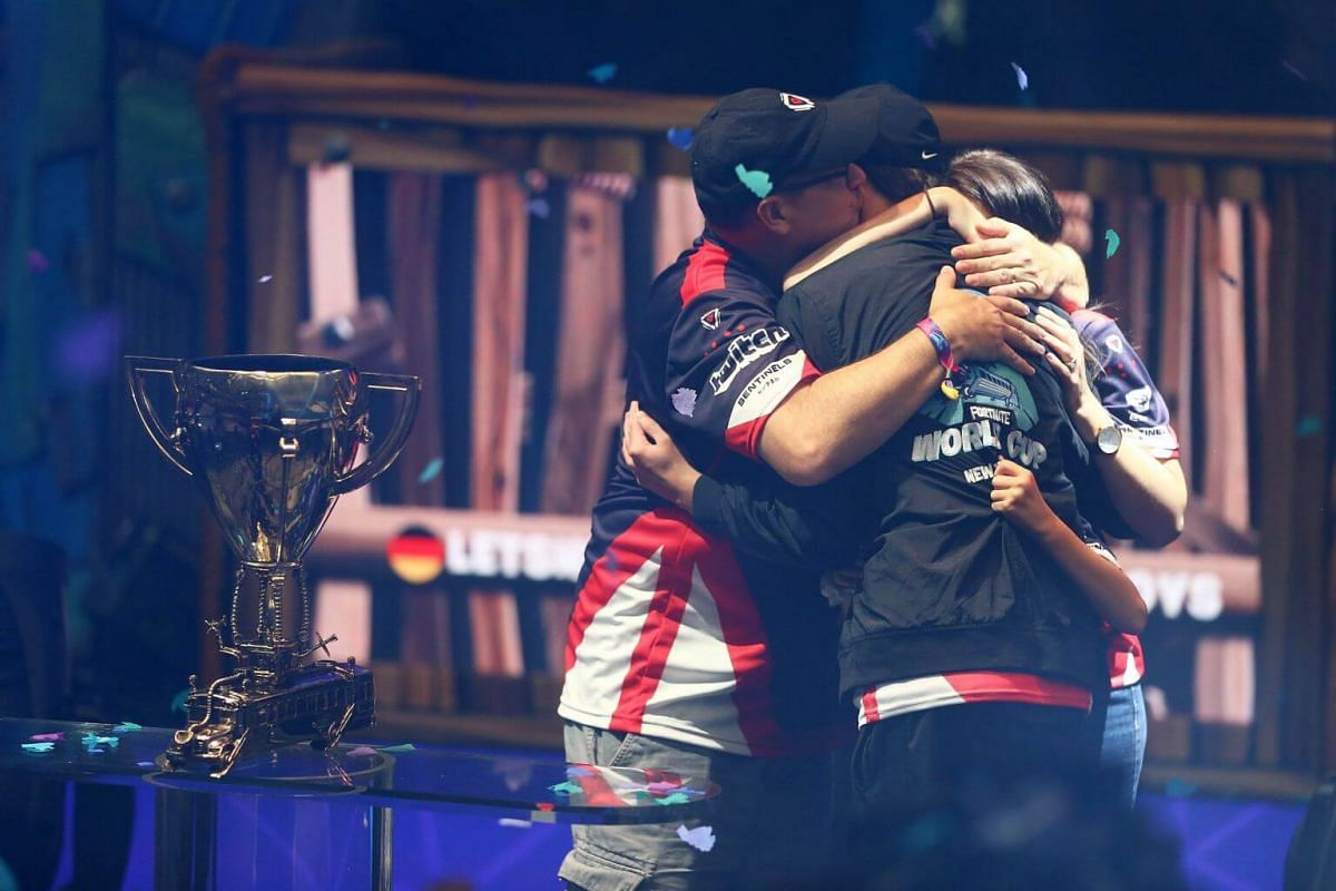 """Sixteen-year-old Kyle """"Bugha"""" Giersdorf celebrates after winning the Fortnite World Cup solo final at Arthur Ashe Stadium on July 28, 2019."""
