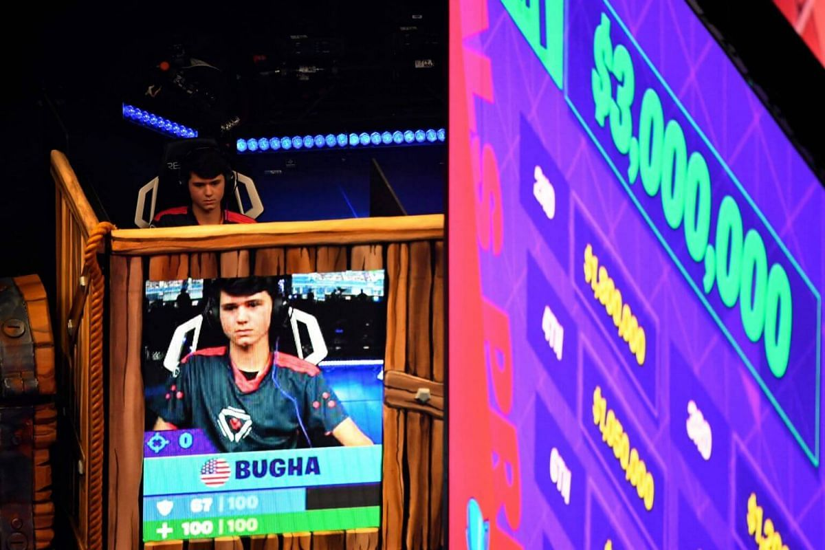 The eventual winner Bugha plays during the final of the Solo competition at the 2019 Fortnite World Cup on July 28, 2019.