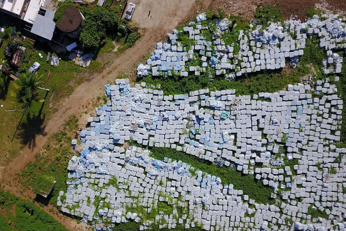 Hundreds of thousands of water bottles meant for victims of Hurricane Maria are seen sitting in a vacant lot in Dorado 40 Km west of San Juan, on July 28, 2019. PHOTO: AFP