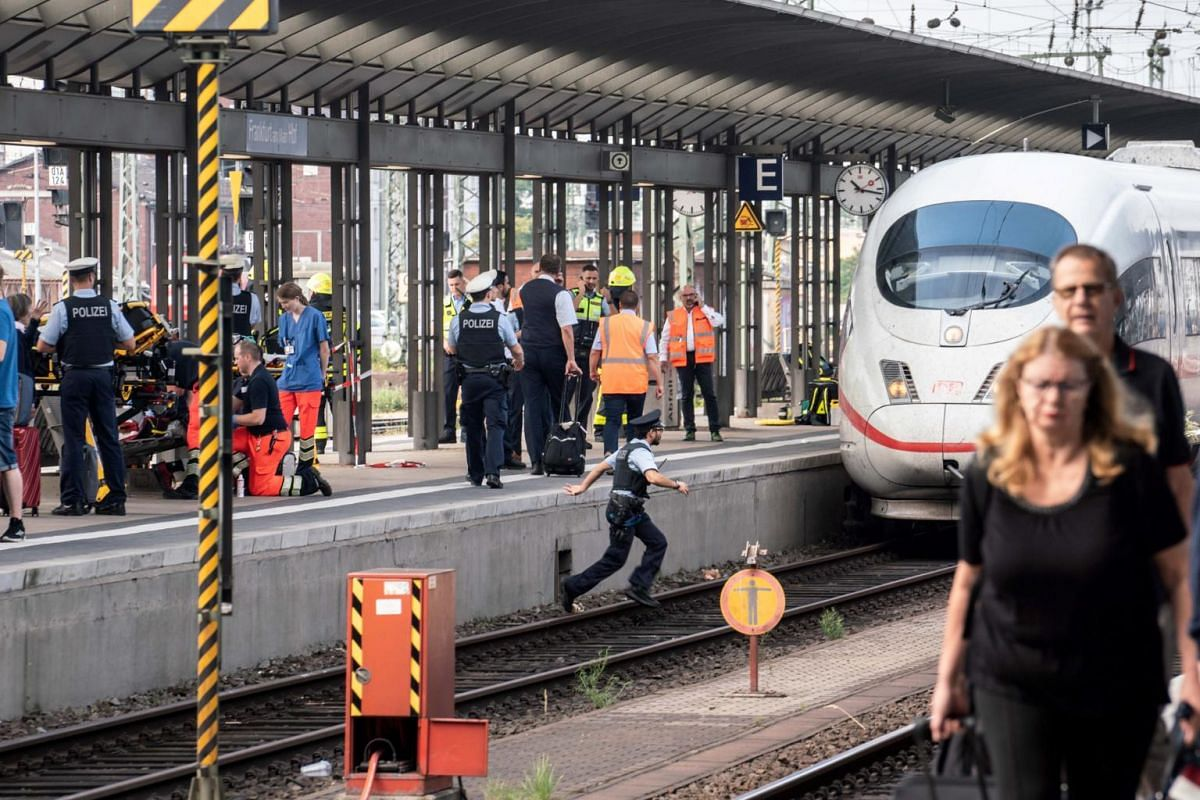 An Intercity Express train stands on track seven of Frankfurt main station after the incident.