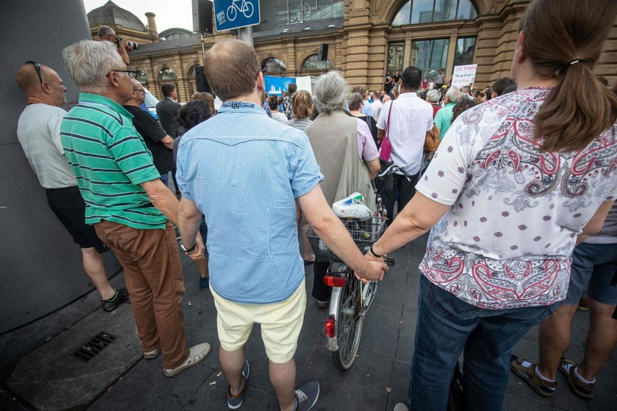 Hundreds of people took part in a memorial ceremony in Frankfurt for the boy.