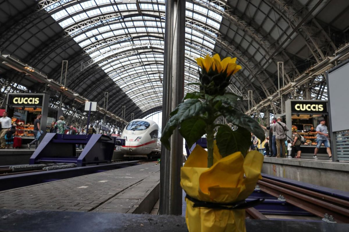 A lone flower pot is placed at a platform at the main train station in Frankfurt.