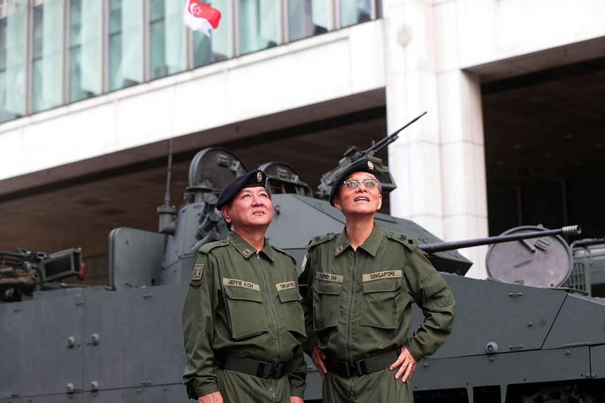 Retired Lieutenant-Colonel Raymond Tan (right), 68, and Mr Jeffie Koh, 60, who ended his full-time national service as lance corporal, will be in 2019 National Day Parade mobile column, a military vehicle drive-past to showcase Singapore's strength