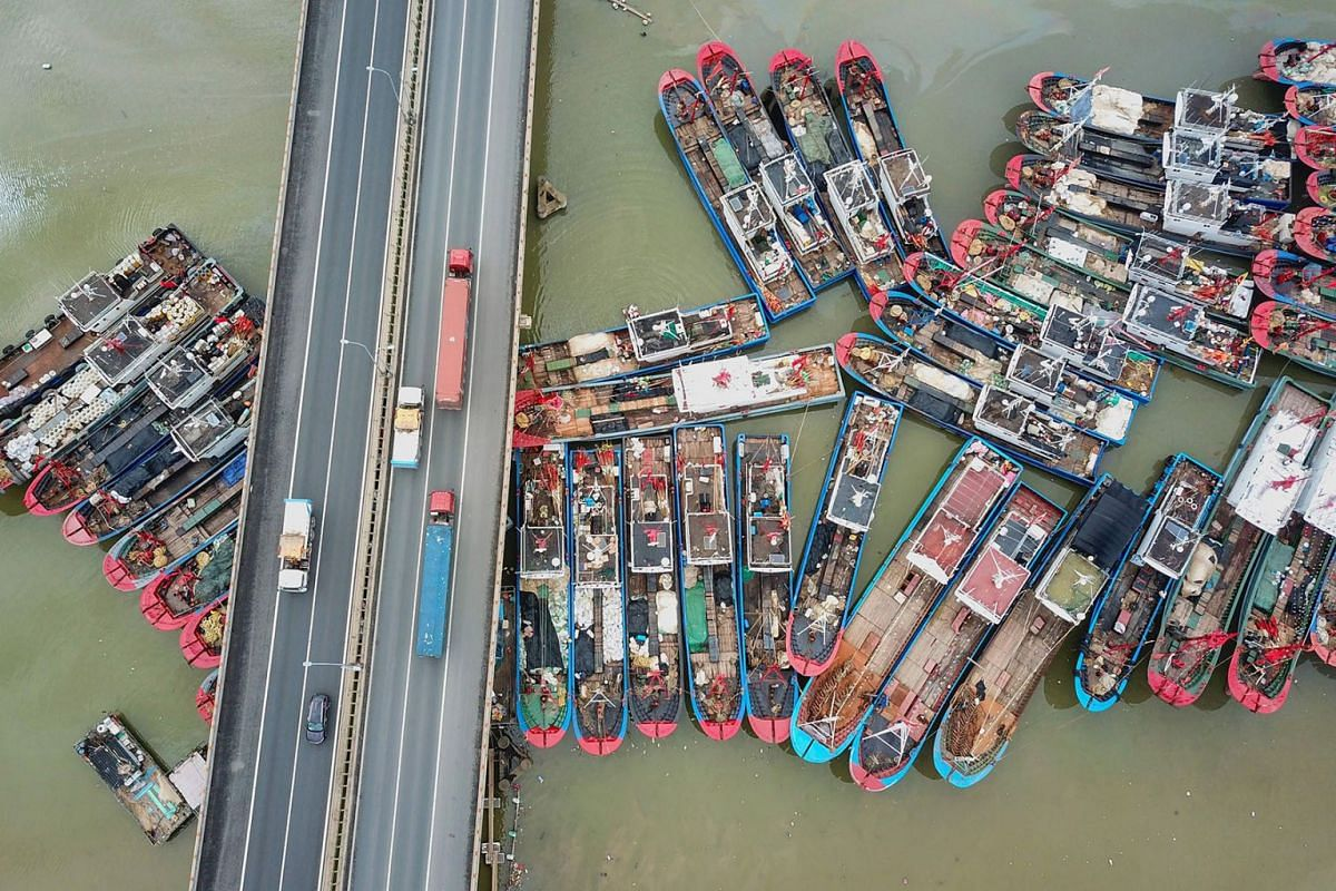 This aerial image shows fishing boats docked on the last day of the summer fishing moratorium, as they prepare to leave port in Lianyungang in eastern China's Jiangsu province on July 31, 2019. PHOTO: AFP