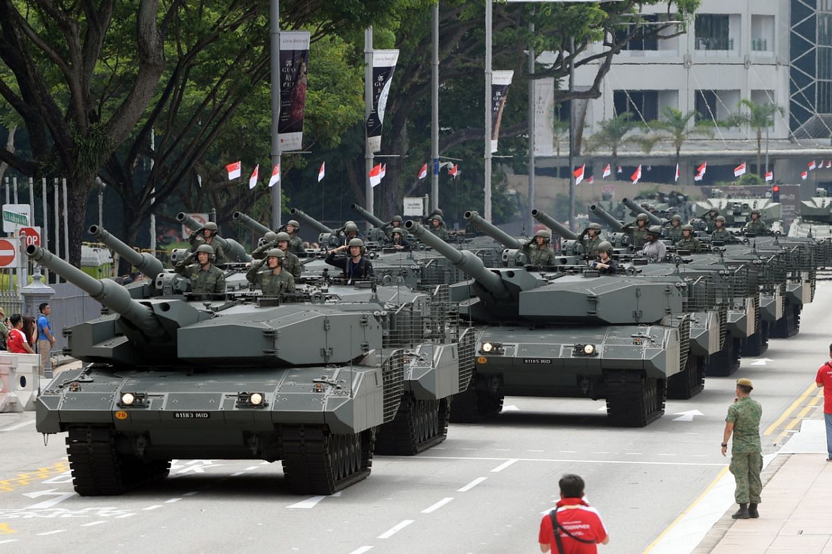 The Leopard 2SG main battle tanks are one of the key vehicles in the mobile column of the National Day Parade.