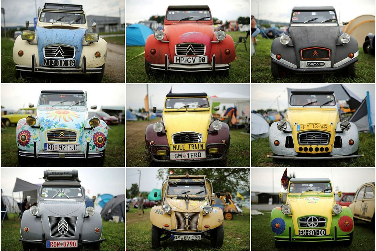 A combination photo shows Citroen's 2CV cars during the event devoted to this iconic autmobile that coincides this year with the French car maker's 100th birthday in Samobor, Croatia, August 2, 2019. PHOTO: REUTERS