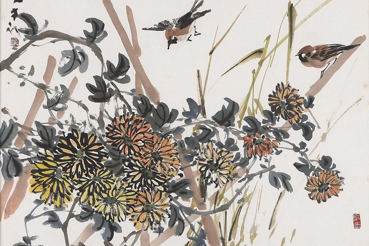 Sparrows, Chrysanthemums (1976) by late Singaporean artist Chen Wen Hsi.