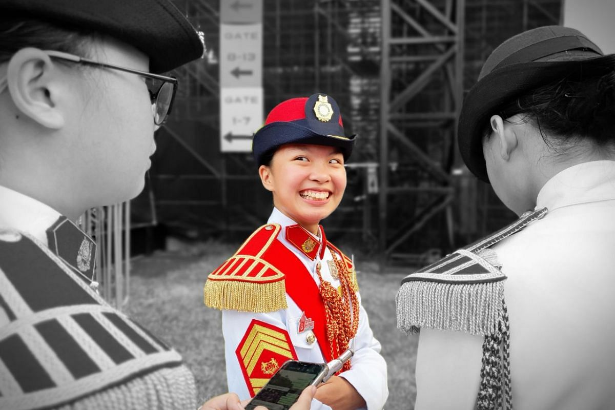 Marching contingent members at the National Day Parade at the Padang on Aug 9, 2019. This photo was captured with the Samsung Galaxy Note10+.