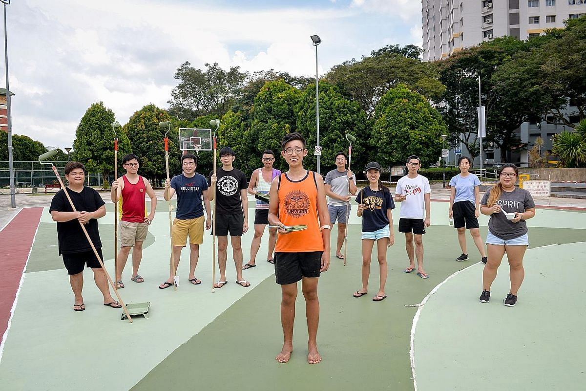 Mr Toby Tan roped in a total of 28 friends to help him paint the basketball court over five days. The cost of the paint and tools was under $2,000.