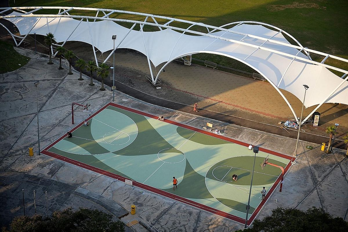 """The name Bishan comes from its beginnings as a Chinese cemetery known as Kwong Wai Siew Peck San Theng, which means """"pavilions on the jade hills"""". This historical background inspired Mr Toby Tan's hill-shaped design on the basketball court, along with its"""