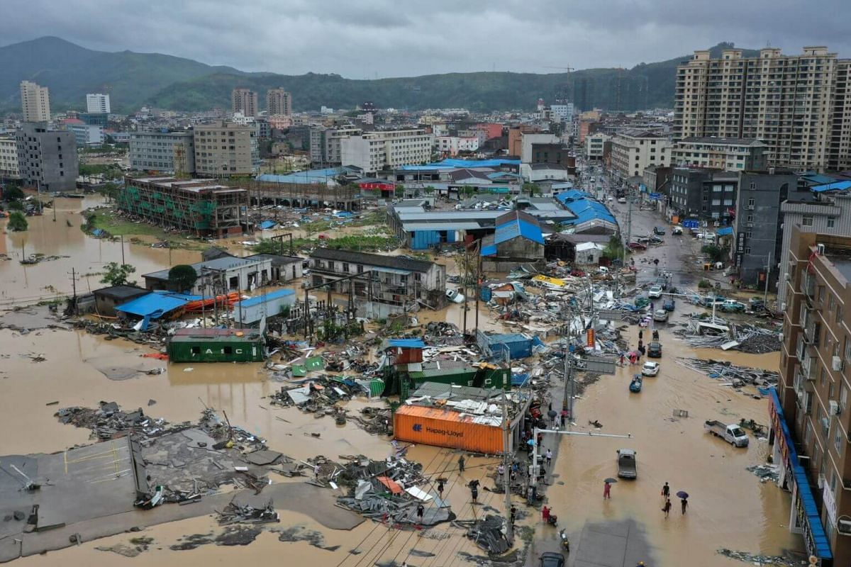 Dajing town is seen damaged and partially submerged in floodwaters in Leqing, Zhejiang province, on Aug 10, 2019.