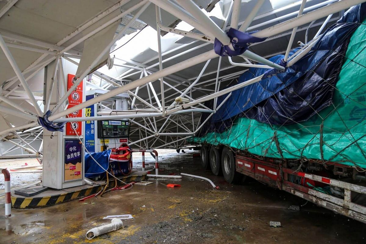 A collapsed roof of a gas station in Wenling, Zhejiang province, on Aug 10, 2019.