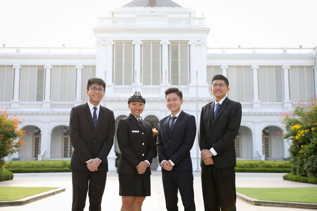 Recipients of the prestigious President's Scholarship at the Istana in Singapore on August 15, 2019, are, from left: Mr John Chua Je En, Ms Allison Tan Sue Min, Mr Siow Mein Yeak, Yue, and Mr Muhammad Dhafer Muhammad Faishal. PHOTO: THE STRAITS TIM