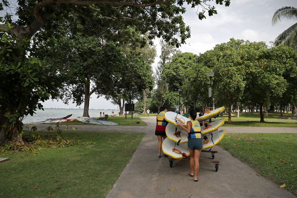 The stand up paddling interest group members push the paddle boards from PAssion WaVE at East Coast to the shore as they prepare for a training session on June 30.