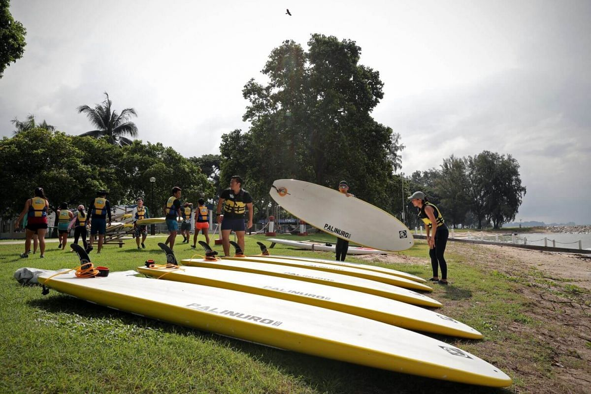 The stand up paddling interest group members meet at PAssion WaVE at East Coast for their monthly training session on June 30.
