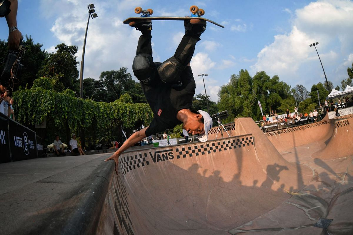 Indonesian skateboarder Pevi Permana Putra, 31, in action during the Vans Park Series (VPS) Asia Regional Championships held at the East Coast Park Xtreme Skatepark on 17 August, 2019.  The competition also featured several Southeast Asian skateboard