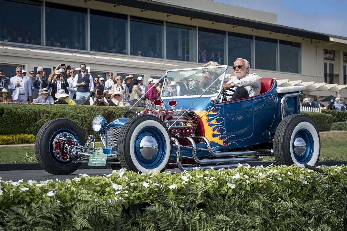 "A 1922 Ford Norm Grabowski ""Kookie Kar"" Roadster Pickup is driven onto the winners ramp at the 2019 Pebble Beach Concours d'Elegance in Pebble Beach, California, U.S., on Sunday, Aug. 18, 2019. PHOTO: BLOOMBERG"