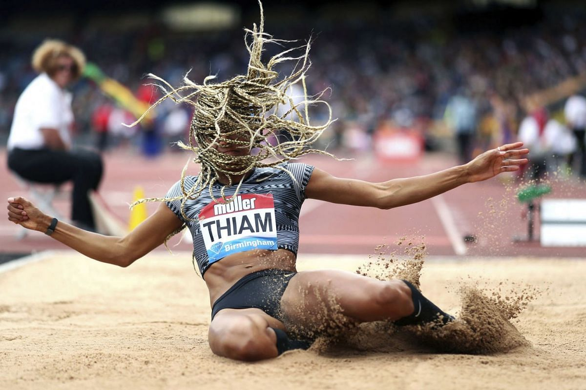 Belgium's Nafissatou Thiam takes part in the Women's Long Jump, during the Muller Grand Prix, Diamond League Birmingham 2019 event at the Alexander Stadium, in Birmingham, England, Sunday, Aug. 18, 2019. PHOTO: PA VIA AP