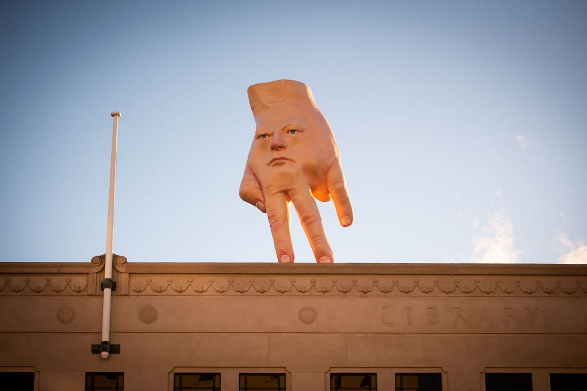 A handout photo made available by City Gallery Wellington shows Ronnie van Hout's 'Quasi' roof top art installation, atop the City Gallery Wellington in Wellington, New Zealand, 19 August 2019. PHOTO: HANDOUT VIA EPA-EFE