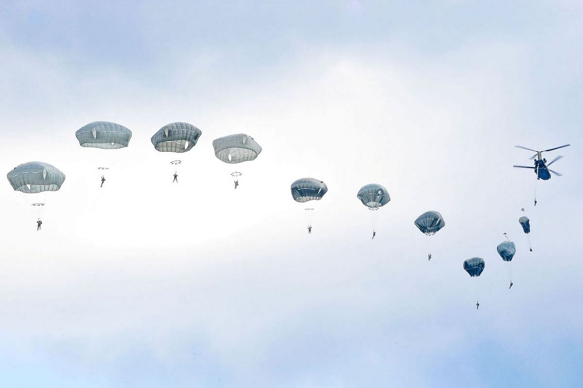 A photo issued on August 21, 2019 shows U.S. Army paratroopers participating in an airborne proficiency jump at Bunker Drop Zone in Grafenwoehr Training Area, Bavaria, Germany, August 14, 2019. PHOTO: U.S. ARMY VIA REUTERS