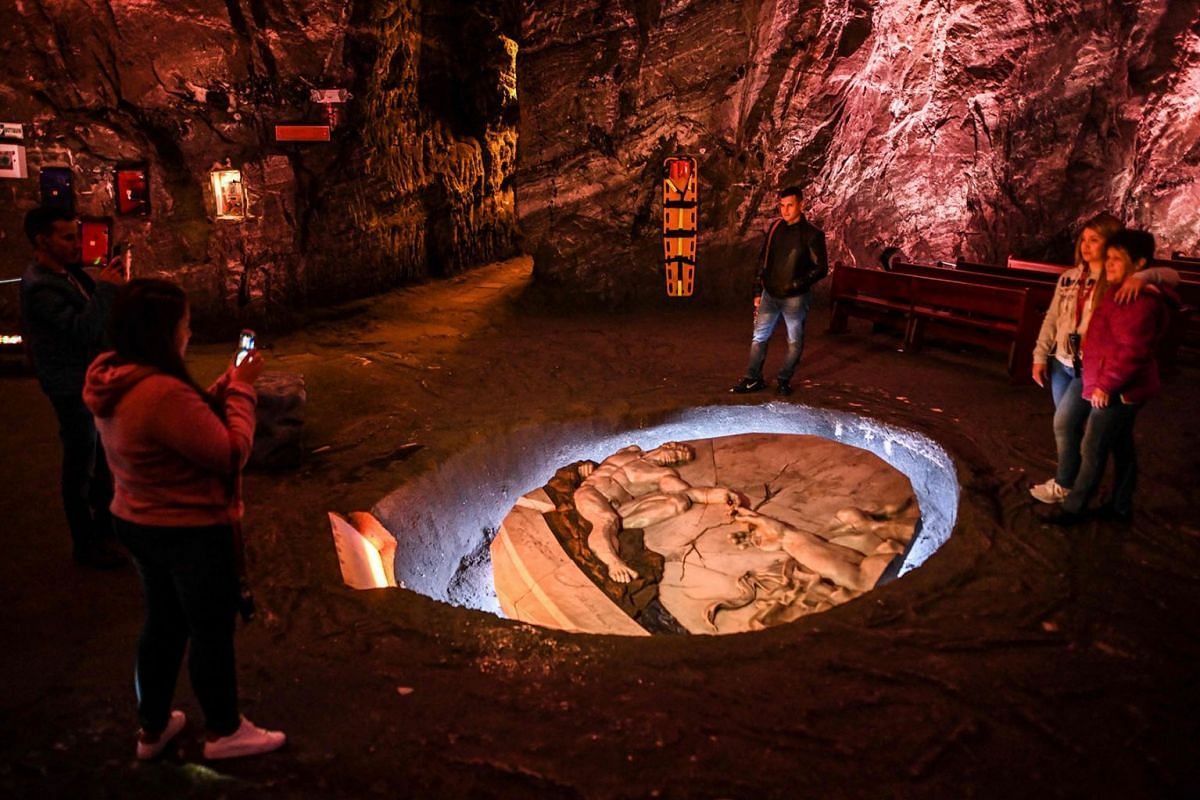 Tourists visit the Salt Cathedral of Zipaquira, an underground church built into a mine that produces salt, 45 km north of Bogota, on August 19, 2019. PHOTO: AFP