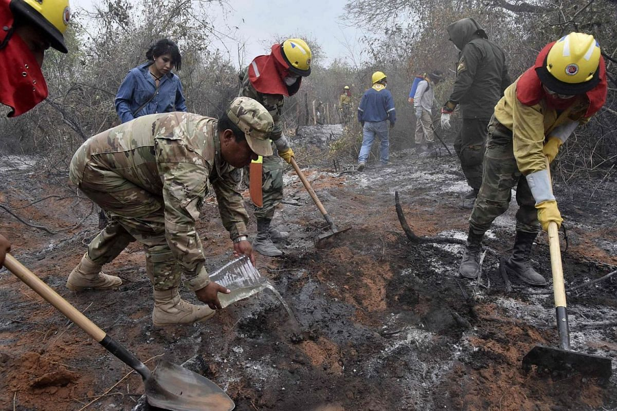 Soldiers, firemen and volunteers combat forest fires in the surroundings of Robore in eastern Bolivia, on Aug 25, 2019.