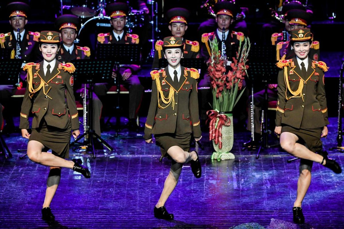 The Ensemble of Korean People's Army of North Korea performing at the Army Theatre in Moscow on Aug 26, 2019, during the Spasskaya Tower international military music festival.